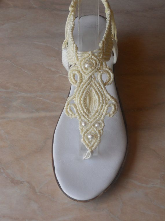 Woman's Wedding Shoes/Macrame and Leather Sandals by KateNikolova