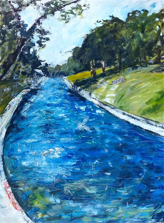 Barton Springs Pool Painting On Canvas Large On Etsy 475