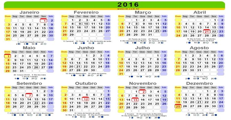 Calendário 2016 online com feriados nacionais - Brasil. Calendário2016 com feriados nacionais - Brasil, páscoa, carnaval e datas comemorativas e fases da lua.