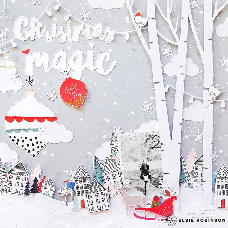 Hey Pinkfresh fans, it's Elsie here with two layouts using the unbelievably lovely December Days collection. I can't tell you how much fun I had making these pages; using this collection made me feel super festive so much so that I listened to Christmas music as I made these - haha! For my first layout I decided to create a wintery scene. I started with the gorgeous 'Christmas Magic' paper. I love the soft gray colour with the white confetti stars and dots with the large title and ornament…