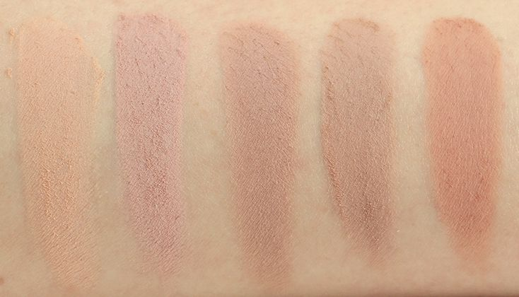 MAC L-R: Bamboo, Malt, Kid, Wedge, and Soft Brown (subtle crease colors)