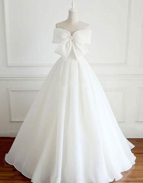White bow long prom dress, white evening dress M1380