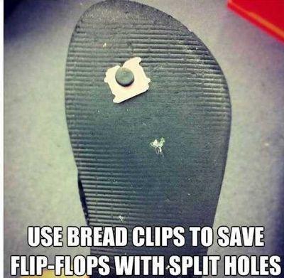 Bread clip in flipflops