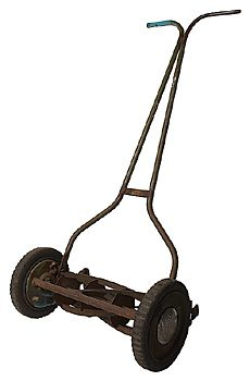 Old manual lawn mower