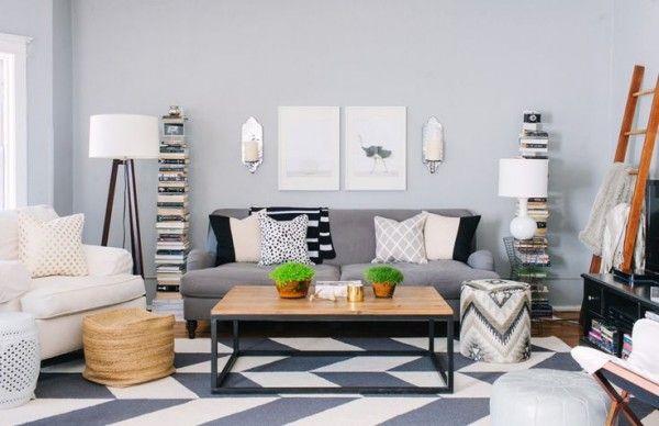 sala pequena com sofa cinza - Pesquisa Google