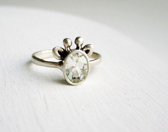 White Giraffe Ring White Topaz and Sterling by EveryBearJewel, $79.00