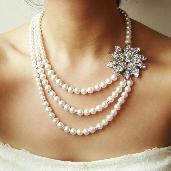 I like the idea. Bridal Pearl Necklace Vintage Wedding Jewelry by luxedeluxe, $148.00