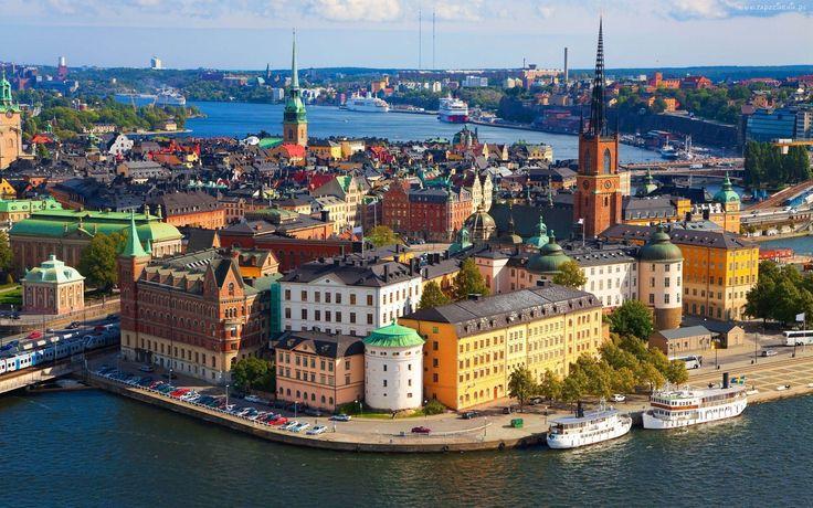 Szwedzkie, Miasto, Z, Lotu, Ptaka