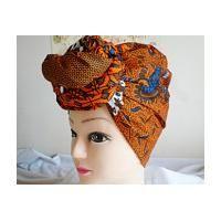 Orange and Blue Multi Ankara Head wrap, DIY head tie, Stylish African head scarf…  – Scarves