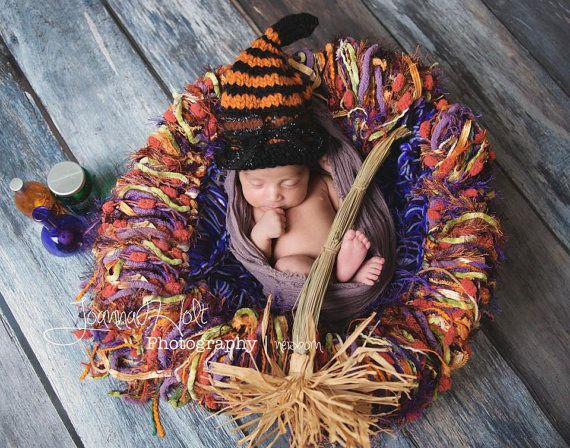 Baby Halloween Props!  Such an adorable set up!  Blanket by BabyBirdz and photography by Joanna Holt Photography, hat by CuteCraftsbyIda and I'm not sure where the potion bottles and broom came from! :D