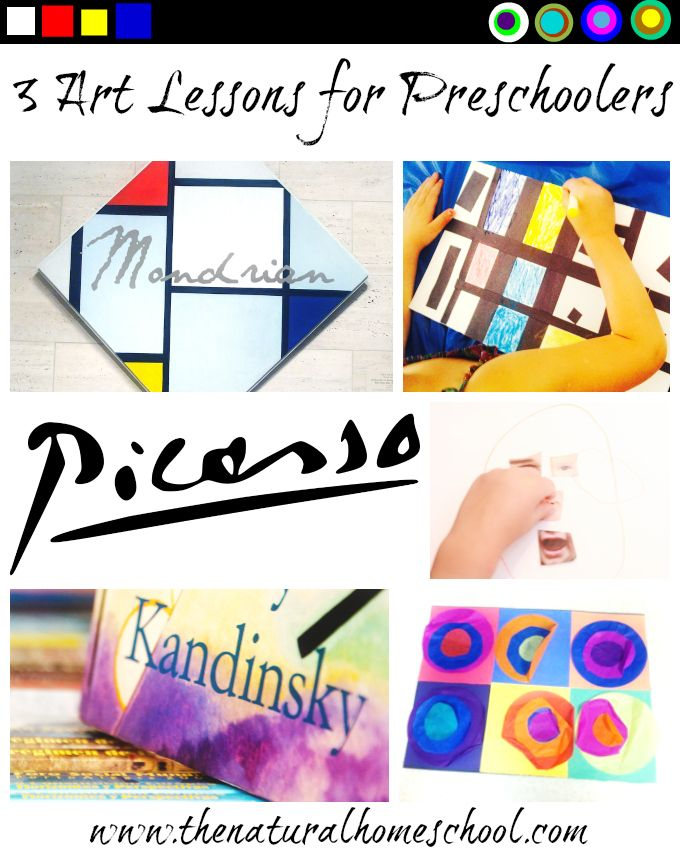 These 3 Art lessons for preschoolers are on our interpretations of Pablo Picasso, Piet Mondrian and Wassily Kandinsky works of art. I hope you will enjoy these and be inspired to make some of these with your littles.
