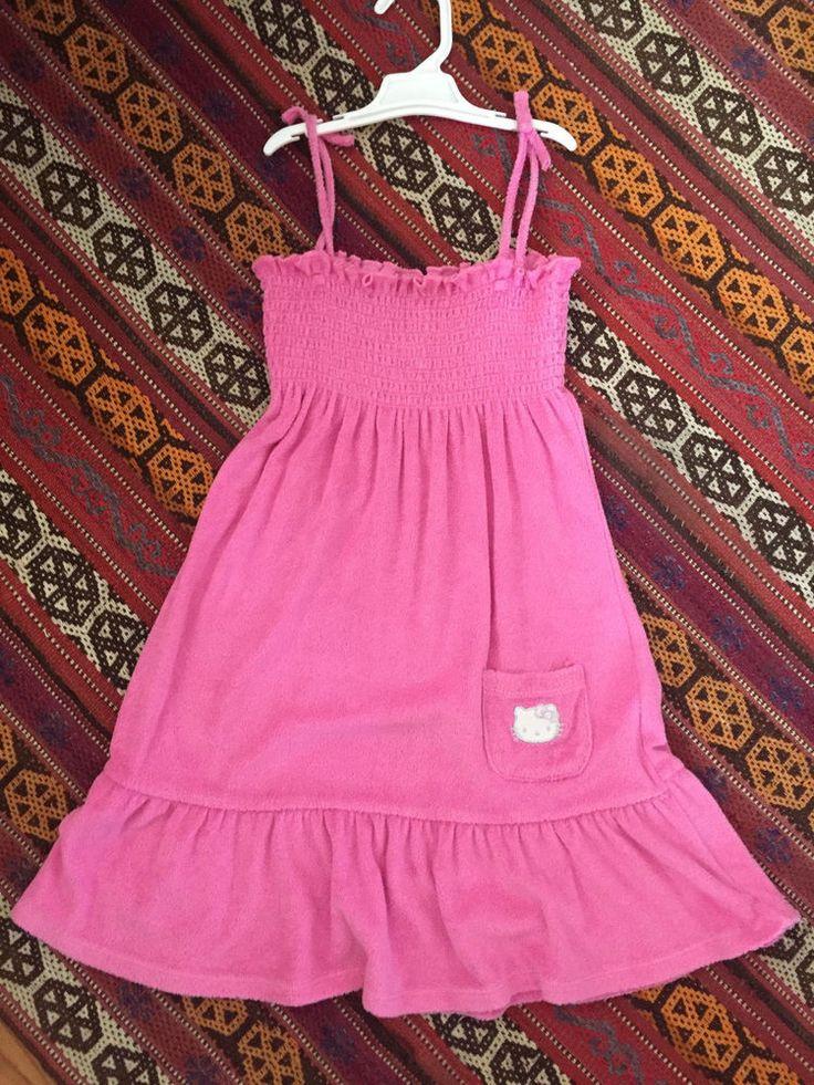 Hello Kitty Girls Pink Smocked Spaghetti Strap Dress Beach Cover-up 7/8  | eBay