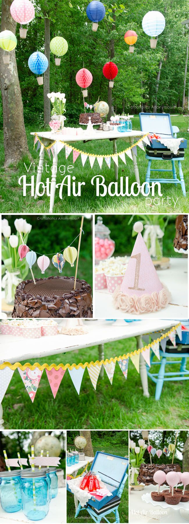 Vintage Hot Air Balloon Birthday Party. Love the hot air balloons, the bunting, and the hot air balloon cake pops.