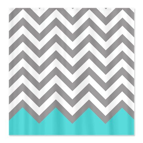 Just bought this for our bathroom :)  Grey and turquoise pattern 2 Shower Curtain