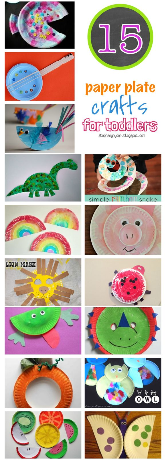 Website doesn't seem to be correct, but the pic is idea enough. 15 Paper Plate Crafts for Toddlers {roundup}