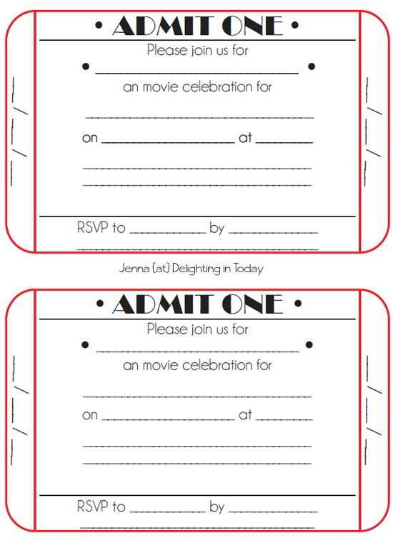 movie ticket birthday invitations free printable