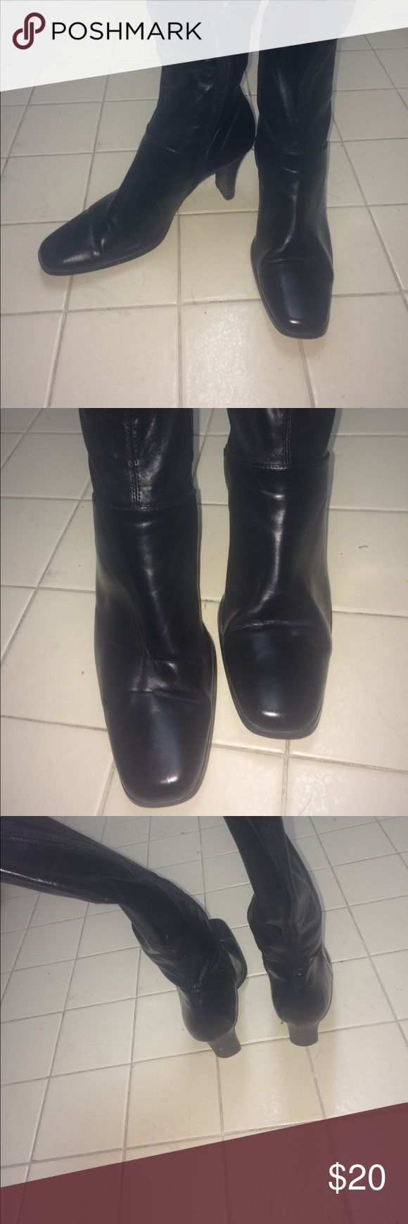Women Black Heeled Boots All black zip up Heeled Boots. Great condition. Feel free to ask any questions. Offer anything reasonable Shoes Heeled Boots