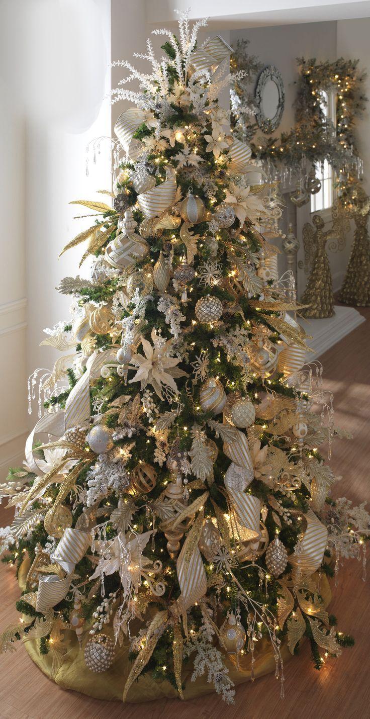 Mejores 10 im genes de tonos metalizados en pinterest - Arbol de navidad dorado ...