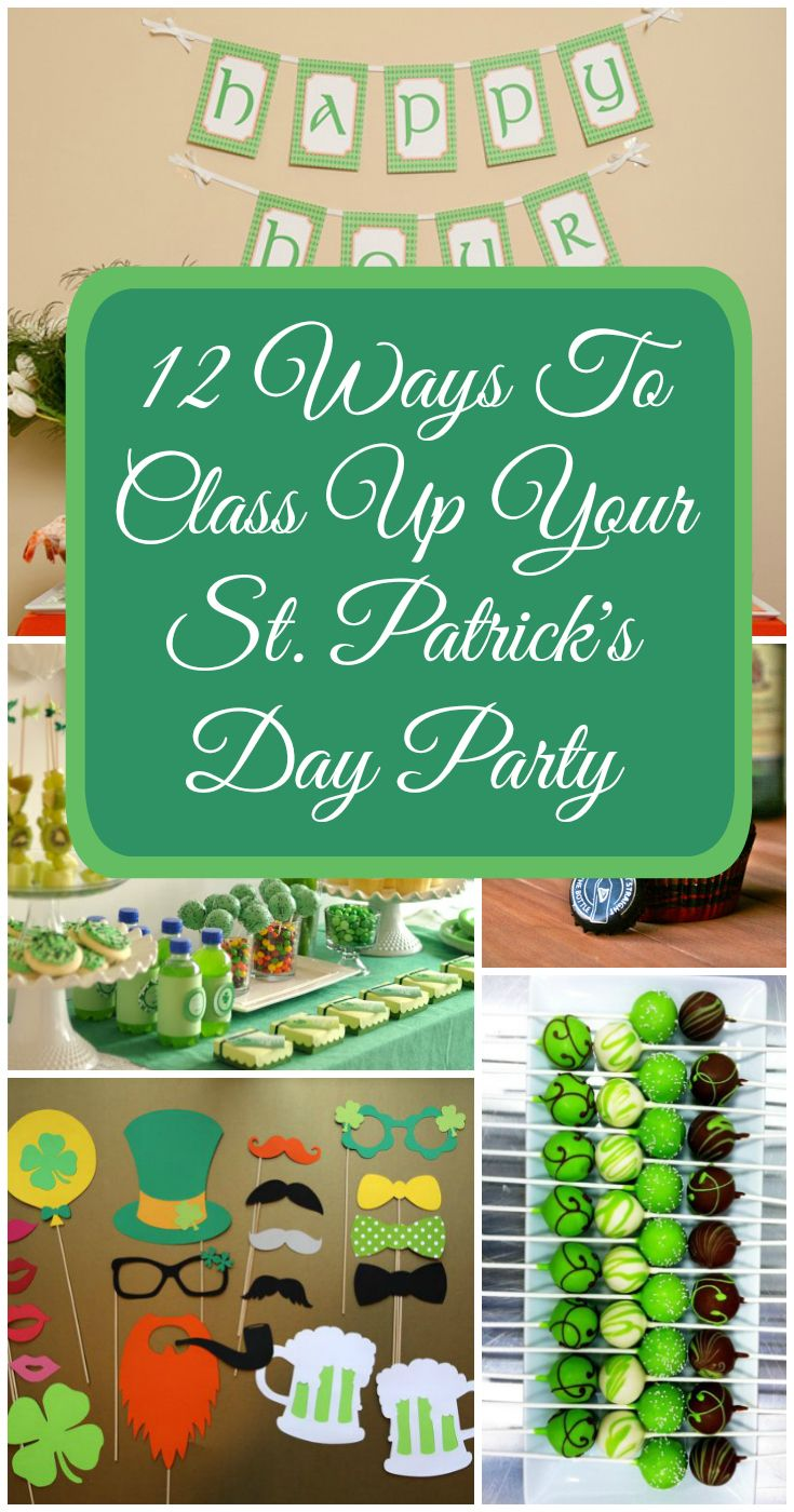 Looking for ideas to celebrate St. Paddy's Day at home? Class up the party with more than just green beer. Here are some ideas for decor and food for Saint Patrick's Day. | 12 St. Patricks Day Party Ideas
