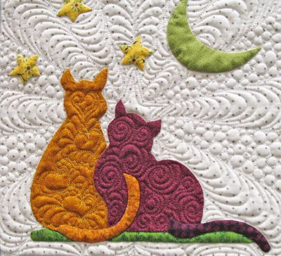 Cat block by Pam Crooks, from the Fairmeadow design by Jeana Kimball  #CATS  #quilt block
