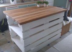 Enkel och smart G.D.S. med lastpallar! Bygg ditt eget arbetsbord, sidobord eller en köksö till köket. #DIY