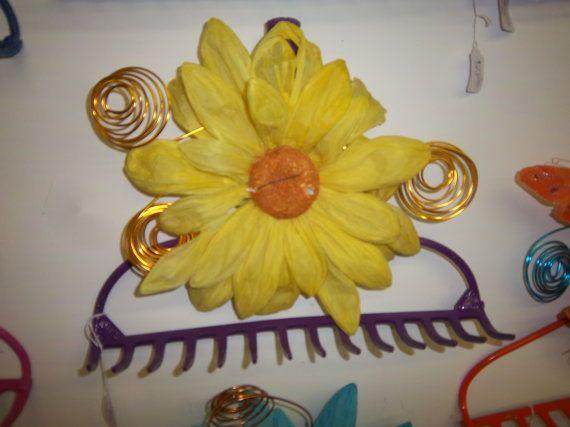FREE SHIP Vintage repurposed garden rake jewelry holder wine glass rack yellow paper flower & metal spirals handmade