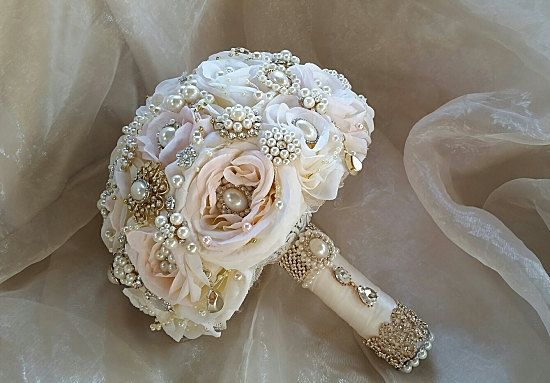 Blush pink Bridal brooch Bouquet-  DEPOSIT for a Custom Blush Pink Gold and Rose Gold Brooch Bouquet, brooch Bouquet,full price 485