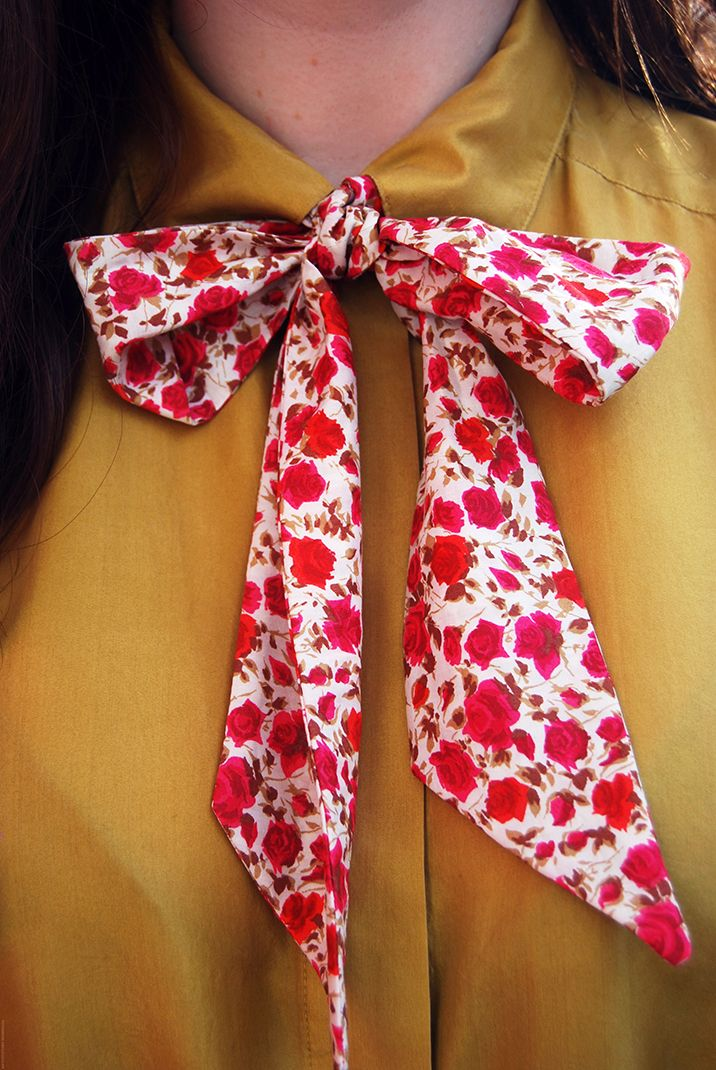 Learn how to make a pussy bow tie with bloggers Rosie and Hannah from @The New Craft Society on the #LibertyCraftBlog #LibertyPrint #SewLiberty