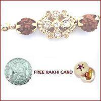 Diamond Flower Rudraksh Rakhi with Free Silver Coin through http://www.rakhibazaar.com/rakhi-to-usa-24.html