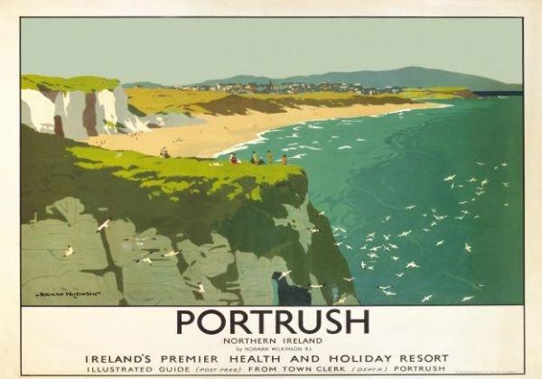 Northern Irish Travel Art Poster, Portrush, County Antrim Sea and White Rocks Beach, Ireland