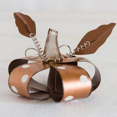 """Metal+Pumpkin+with+Polka+Dots+Size:+6""""+x+4""""+x+6""""+Material:+Metal+Color:+Copper,+White+Rustic,+distressed+look+with+rusty+edges.++"""