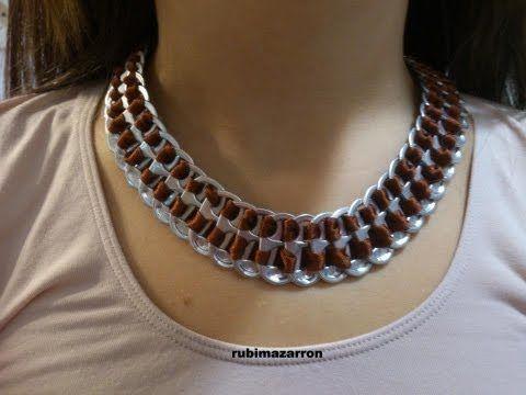 Cómo hacer un collar con anillas de lata: Collar Primavera - YouTube