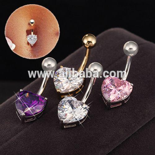 De las mujeres de moda piercing joyería del cuerpo fino anillo piercing del ombligo del vientre con el corazón cubic zirconia 18 k oro laminado envío libre