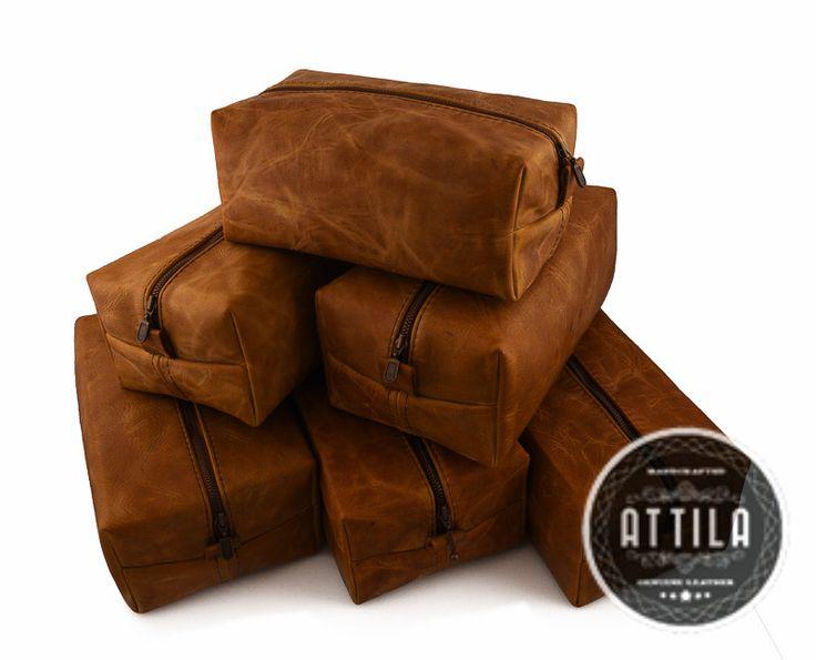 Set of 6 Personalized Groomsmen Gift Set, Dopp Kits, Custom Wedding gift, Grooming bag,  Best man gift, Shaving bag, Vintage, Rustic, Bag by ATTILAbag on Etsy