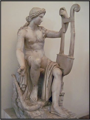 Apollo is the son of Zeus and Leto. His twin sister is Artemis. Unlike Artemis, he was the god of the sun. He is also the god of music, playing a golden lyre. The Archer, far shooting with a golden bow.