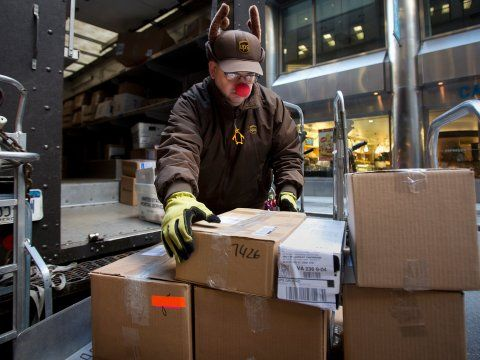 UPS parcels being stacked for delivery