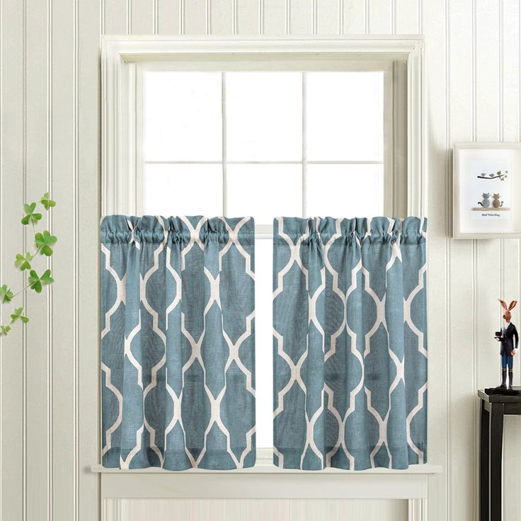 Moroccan Tile Printed Tier Curtains For Kitchen Modern Cafe Half Window Panels 36 Inch Length Lattice
