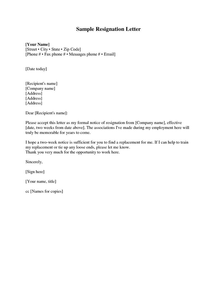 Resignation Letter Sample 2 Weeks Notice | Free2IMG.com  Sample Resignation Letters