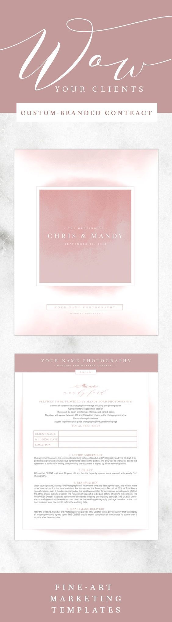 Best 25 wedding photography contract ideas on pinterest wedding photography contract custom branded marketing template dusty rose wedding photography contract custom branded marketing template dusty rose stopboris Image collections