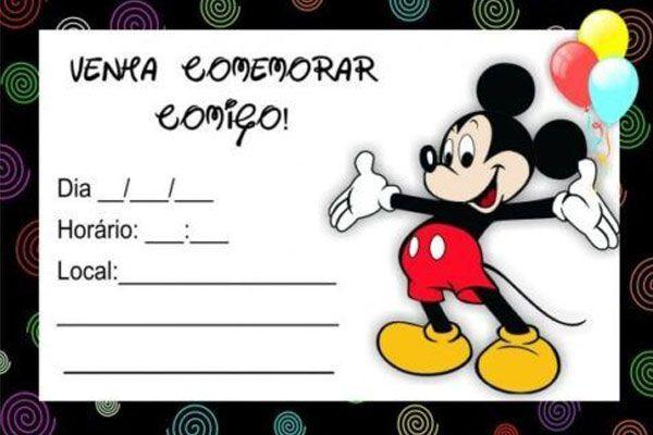 Convite Do Mickey Mouse Modelos Para Imprimir E Editar Como