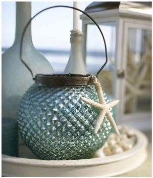 Beach House Blues ● Summer lantern from Pottery Barn