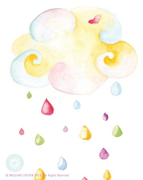 Rain Cloud Print - Baby Watercolor Painting - Whimsical Rain Cloud