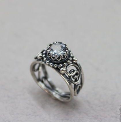 """Кольца ручной работы. Ярмарка Мастеров - ручная работа. Купить Ажурное кольцо с аквамарином в серебре 925 """"MARGO"""". Handmade. Голубой"""