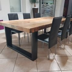 Meuble industriel table de salle à manger en pin massif 8 cm + 2 rallonges