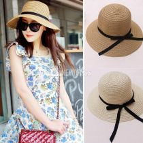 High Quality!!!Summer Hats for Women Fashion Women's Sun Foldable Straw Hats Beach Headwear 2 Colors