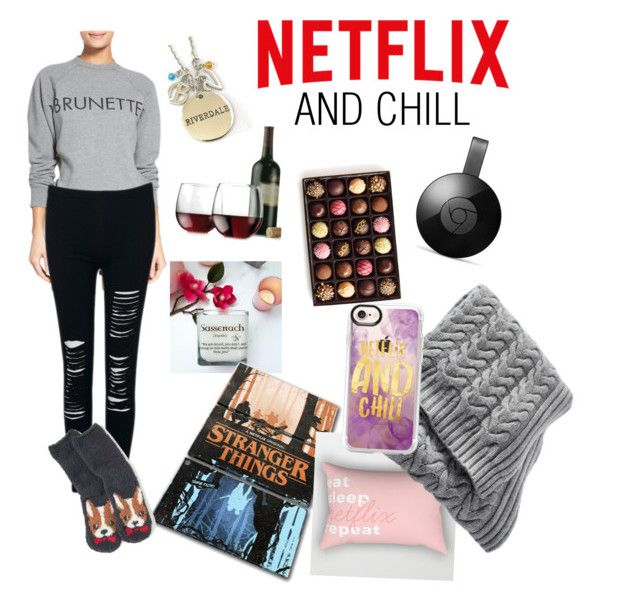 """""""Netflix and Chill"""" by amanda-barrett on Polyvore featuring Brunette, WithChic, Libbey, Casetify and Google"""