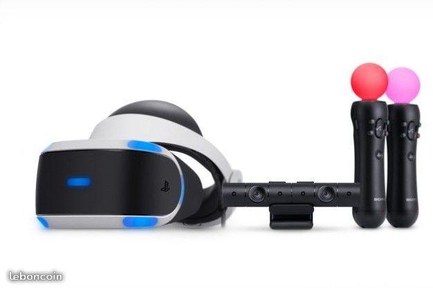 Bonjour,Plongez vous dans une séance de réalité virtuelle avec le PLAYSTATION VR.L'ensemble comprend:-1 casque PSVR-1 processeur-1 Playstation Caméra-2 Playstation Move-1 disque de démos- 2 jeux supplémentaires (VR Worlds, Gran Turismo)-Toute la connectique nécessaireDes sensations incroyables jamais ressenties, vous êtes désormais au coeur du jeu !Ce casque vous permettra également de profiter des vidéos 360° disponibles sur Youtube !