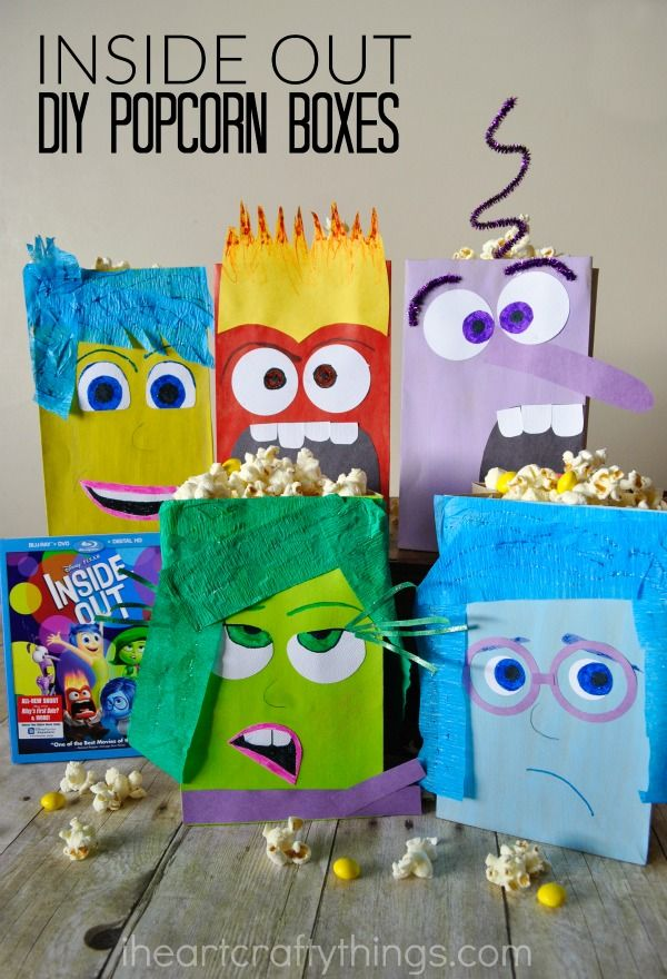 Make familiy movie night extra fun with these Inside Out Inspired DIY Popcorn Boxes #InsideOutMovieNight ad