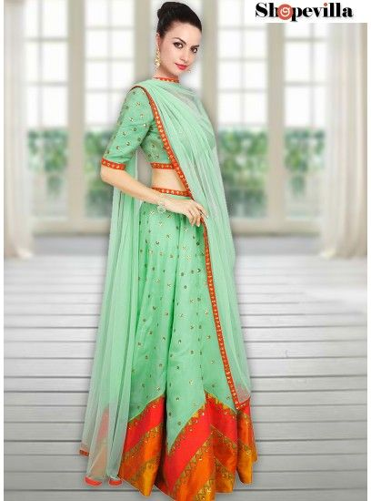 Green Color Party Wear Ghagra Choli With Dupatta-FKFBL061