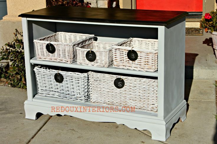 Dresser without drawers, transformed with CeCe Caldwell's Blue Montana Sky, added shelving and baskets with chalkboard labels. Redouxinteriors.com FACEBOOK: Redoux